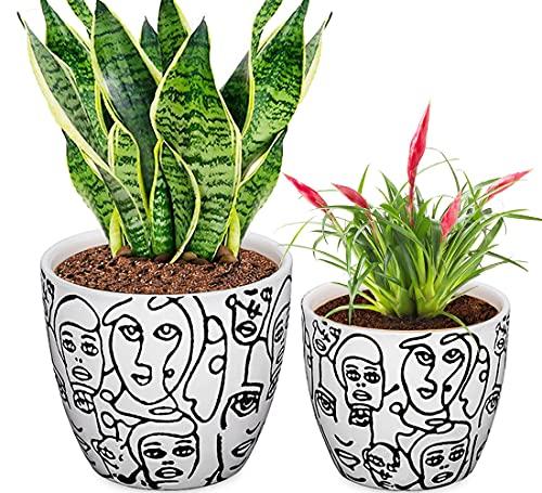 CODREAM Lot de 2 pots de fleurs en céramique – Pot de fleurs artistique en porcelaine solide avec cache-pot décoratif – Blanc Grand pot de fleurs 17 cm Petit 14 cm