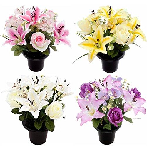 Kunstblumen als Grabschmuck, Blumenarrangement im Topf aus Lilien und Rosen, 4Farben rose