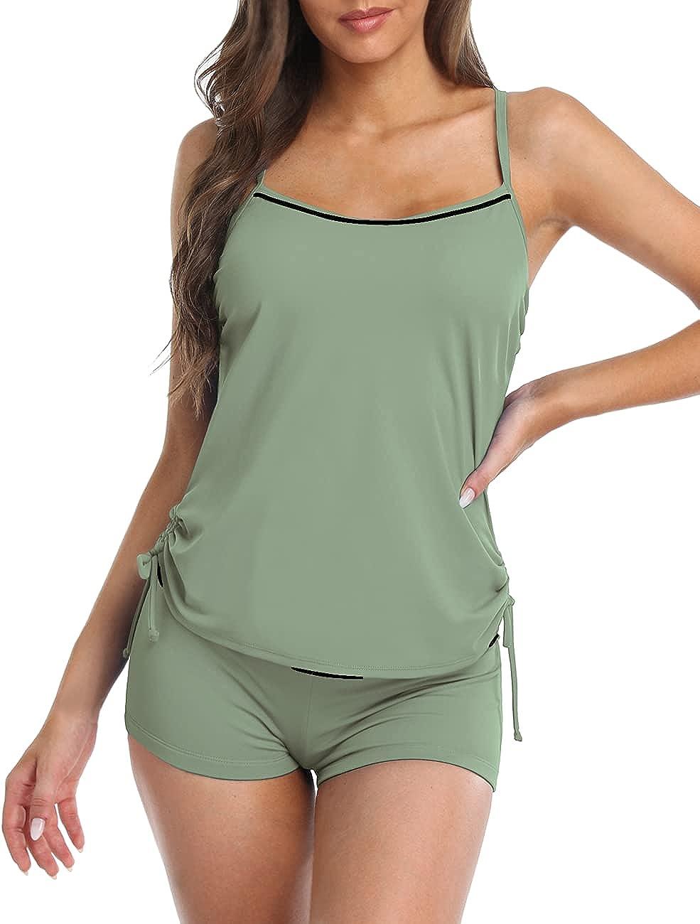 Hilor Tankini Swimsuits for Women Racerback Two Piece Bathing Suit