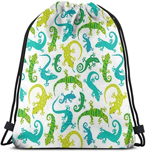 KINGAM Mochila de hombro con cordón casual, para mujeres y hombres, mochila de cuerda deportiva grande, para estudiantes, ligera, linda lagartos, animales, bolsa de cincha, bolsas de viaje