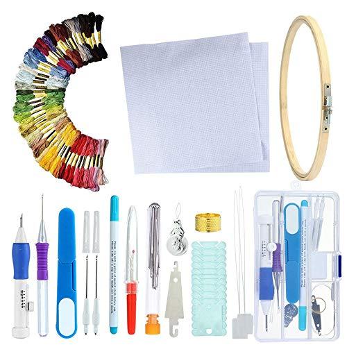 Caja de herramientas de bordado ruso Manual de accesorios de música de bricolaje Kit de costura 50 Caja de herramientas de bordado de colores Línea Butterfly Set - color múltiple