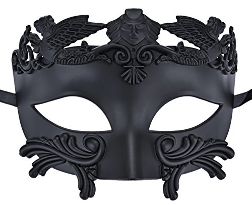 Coxeer Mens Masquerade Mask Greek Party Mask Black Mardi Gras Halloween Mask