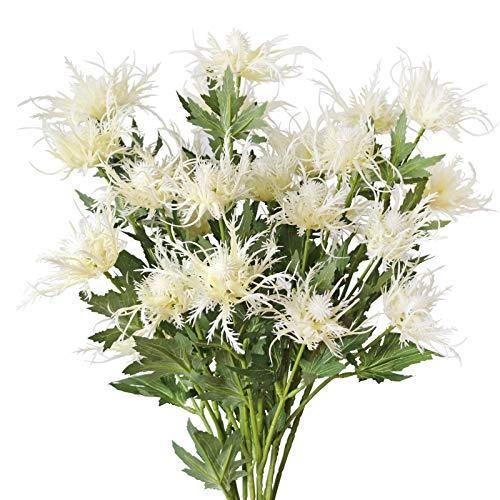 MINYULUA Artificial Thistle Flowers White Eryngium Flowers 8 Long Stems Faux Thistles Bunch Fake Plant Spray Eryngo   Sea Holly for Wedding Bouquet Centerpiece Home Kitchen Office Garden Decor