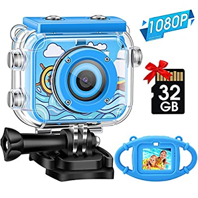 Kids Camera,Gofunly Waterproof Action Video Digital Camera,Underwater Sports HD Camcorder for Boys Girls with 1080P 12MP 2.0 Inch Large Screen,32GB Memary Card,Card Reader by Gofunly