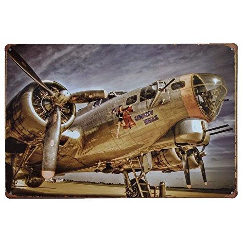 MARQUISE & LOREAN | Placas Decorativas Metálicas Aviones Segunda Guerra Mundial Carteles Vintage Chapas Casa Mira Aquí