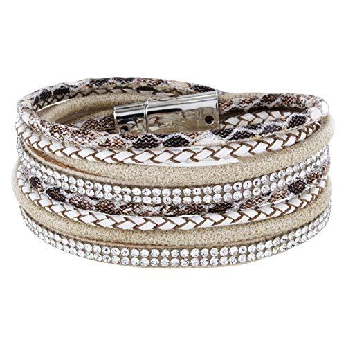 StarAppeal Armband Wickelarmband mit Strass und Flechtelement, Magnetverschluss Silber Glanz, Damen Armband (Hellbraun)