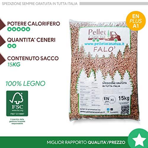 Pellet Falò oscuro 100% madera - Pellet estufa calidad DIN/EN PLUS A1 - Alto poder calorífico