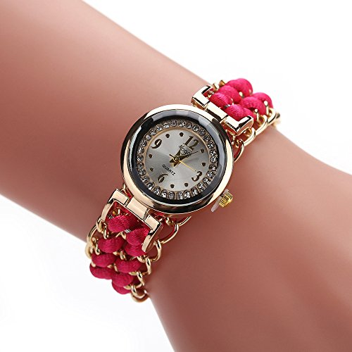 Neubula - Reloj de pulsera de movimiento de cuarzo analógico para mujer con cadena de reloj de tejer, correa de reloj trenzada para deporte, viajes, negocios, ocasional, fiesta (rosa vivo)