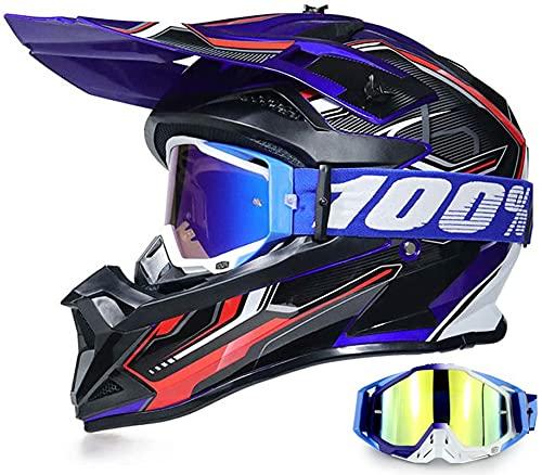 Crosshelm mit Brille Visier Fullface Helm, Motorcroashelm Offroad Downhill Schwarz Blau Endurohelme Motorradhelm für Kinder Erwachsene Mountain Bike Dirt Bike MTB BMX ATV Quad MX (S)