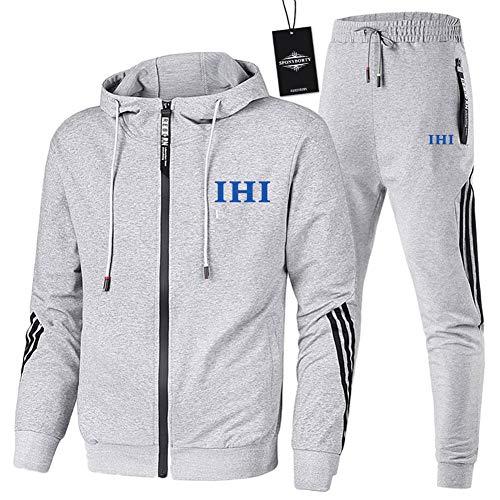 MAUXIAO de Los Hombres Chandal Conjunto Trotar Traje I_H-I Hooded Zipper Chaqueta + Pantalones Deporte Y/Gray/L