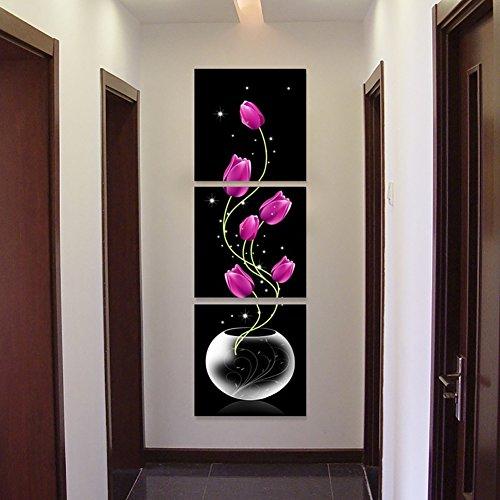 Impresión de 3 piezas sin marco vertical de flores de tulipán de Profusión círculo de Navidad para la pared del hogar,...