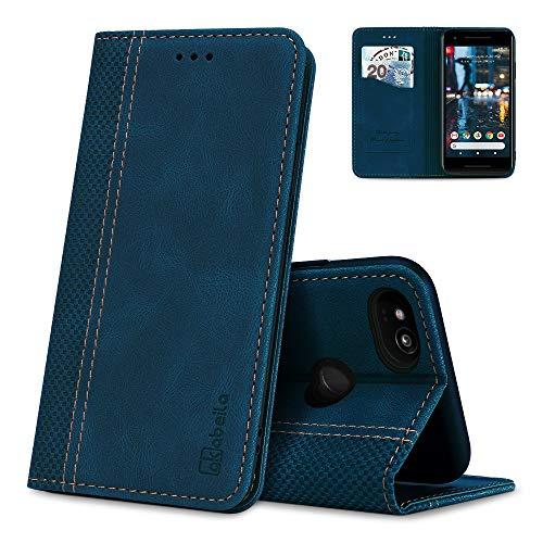 AKABEILA Google Pixel 2 Hülle Leder, Google Pixel 2 Handyhülle Silikon, Kompatibel für Google Pixel 2 Schutzhülle Brieftasche Klapphülle PU Magnetverschluss Kartenfächer Hüllen, Blau