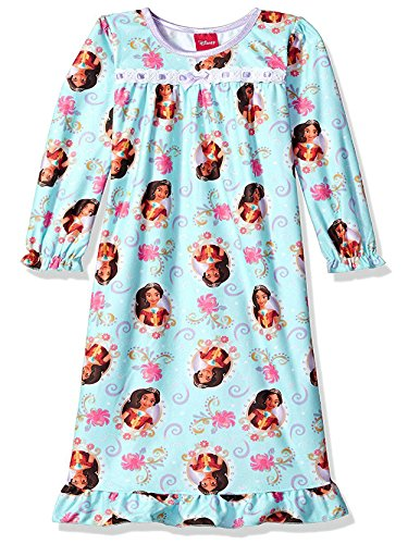 Disney Elena of Avalor Girls Flannel Granny Gown Nightgown (6, Blue)