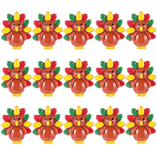 GALPADA 15pcs Thanksgiving Party Resin Turkey DIY Phone Accessories Hairpin Accessories Thanksgiving Decorations