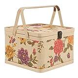 Tylyund cestino da picnic intrecciato a mano in bambù cestino per picnic all'aperto granchio bambù borsa portaoggetti scatola uovo cesto frutta contenitore