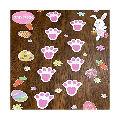 220PCS Easter Bunny Paw Print Stickers Rabbit Footprint Floor Decals Clings for Party Decor Supplies Egg Hunt Games Party Favors