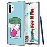 TalkingCase Clear Thin Gel Phone Case for Samsung Galaxy Note 10,Chill Pill Saying Chill Print,Light Weight,Ultra Flexible,Soft Touch,Anti-Scratch,Designed in USA