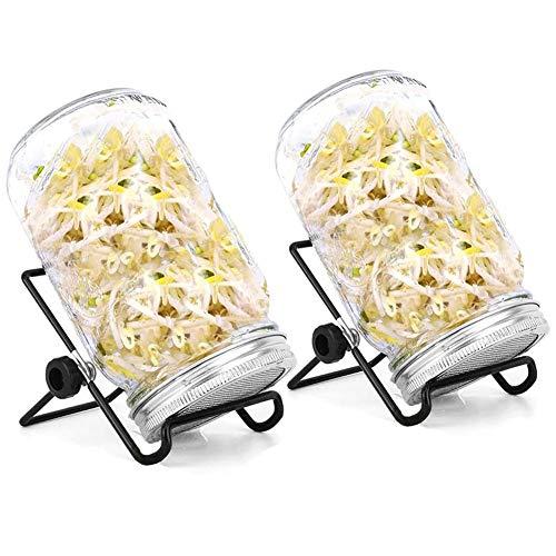 Kit de germination de graines 2 pots Mason à germination avec couvercles de passoire en acier inoxydable, supports, ensemble de germoir pour faire pousser une salade de haricots brocoli de luzerne