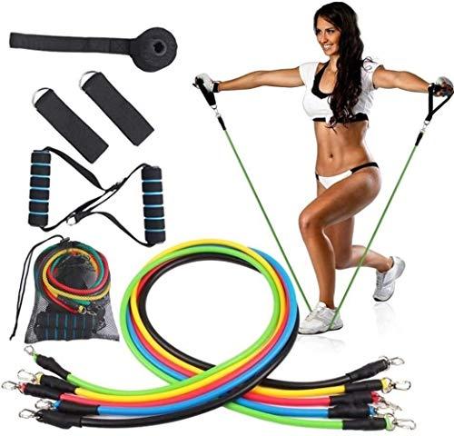 DINGYGJ 11 stks Gewicht Oefening Fitness Resistance Bands Set - Stapelbare Elastische Band Oefening - met Deur Anker handvat en benen enkelbanden, voor thuis, sportschool