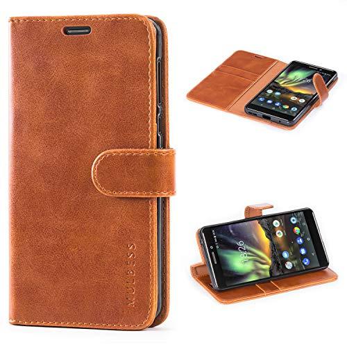 Mulbess Handyhülle für Nokia 6.1 Hülle, Leder Flip Case Schutzhülle für Nokia 6.1 Tasche, Cognac Braun