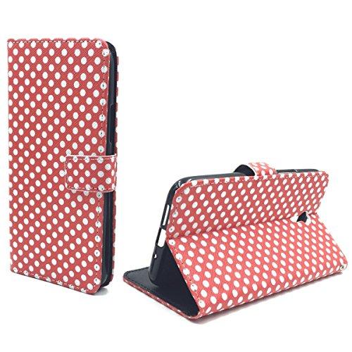 König Design Handyhülle Kompatibel mit Lenovo ZUK Z1 Handytasche Schutzhülle Tasche Flip Hülle mit Kreditkartenfächern - Polka Dot Weiße Punkte Rot