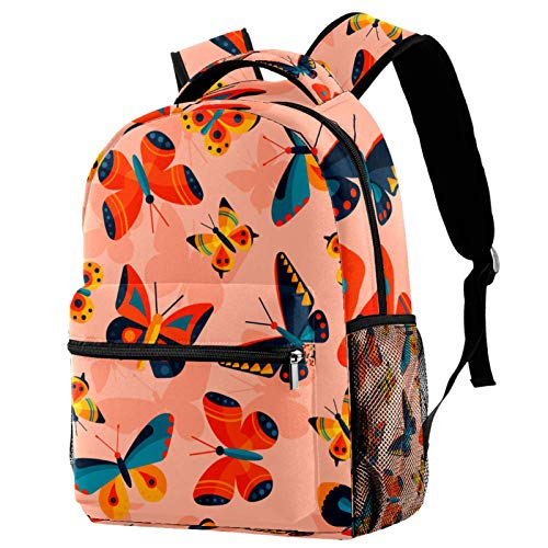 Watercolor Colorful Butterfly Backpack for Teens School Book Bags Travel Casual Daypack