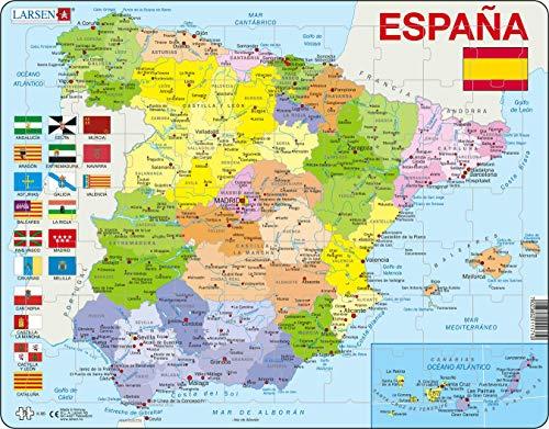 Larsen K85 Mapa político de España, edición en Español, Puzzle de Marco con 70 Piezas