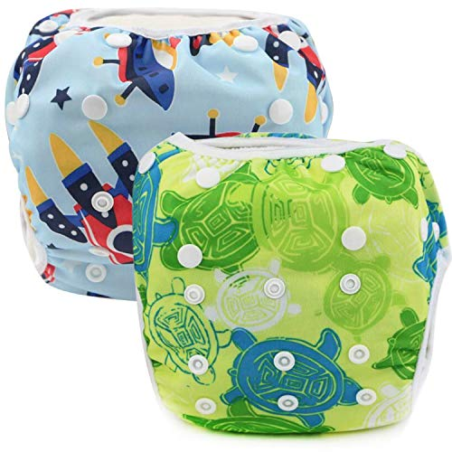 Reusable Swim Diaper Washable Swim Diapers with Adjustable Snaps for Baby Shower Gifts & Swimming Lessons 2 Packs