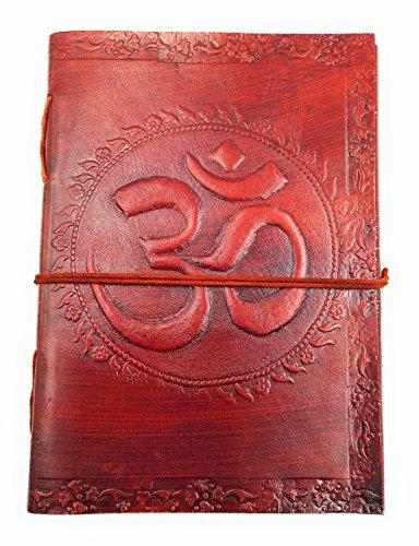 Chic & Zen - diario, agenda, blocchetto per appunti, Vera Pelle, Vintage, Om, Aum, 13 cm * 17 cm, carta premium