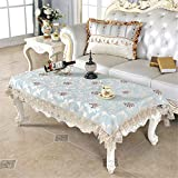 Small Rectangle Lace Blue Tablecloth Embroidered Table Cover Coffee Table Cloth for Kitchen Dinning Living Room Wedding Home Decor 39 x 55 Inch