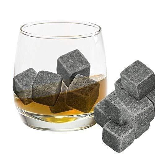Zengkei Whiskey Schlürfen Steine Set, Whiskey Steine Granit Kühler Würfel Trinken Steine Für Kühl-stick Whiskey, Wein und Andere Getränke, Set Mit 9 mit Aufbewahrungstasche
