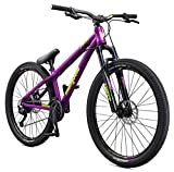 Mongoose Fireball Dirt Jump Mountain Bike, 26-Inch Wheels, Mechanical Disc Brakes, Purple