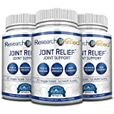 Research Verified Joint Relief - 100% Natural Glucosamine, MSM and Turmeric, Boswellia + Vitamins for Joint and Muscle Support - 3 Bottles (3 Months Supply)