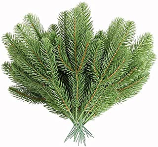 MUFEN 30pcs Artificial Pine Branches Green Plants Pine Needles DIY Accessories for Garland Wreath Christmas Embellishing and Home Garden Decor