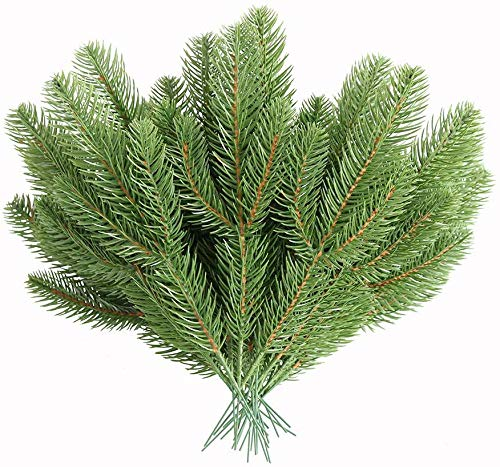 Elyjhyy 30pcs Artificial Pine Branches Green Plants Pine Needles DIY Accessories for Garland Wreath Christmas and Home Garden Decor