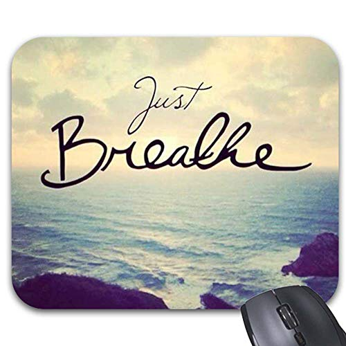 Just Breathe Yoga Zen Quote Mouse Pads Stylish Office Computer Accessory 9 x 7.5in