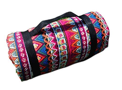 X-Labor Bohemian Picknick Decke 200x150 cm XXL Baumwolle Leinen mit wasserdichter PEVA Unterseite Wärmeisoliert Stranddecke Campingdecke Motiv-F