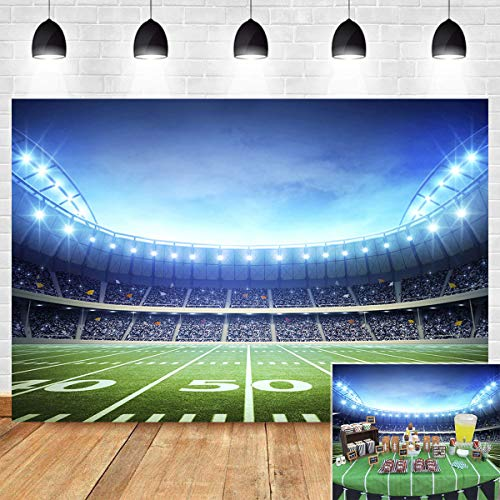 Soccer Field Night Light Photography Backdrop for Boy Son Birthday Party Decoration Sport Stadium Photo Background Football Themed Photo Booth Studio Props Vinyl 5x3ft