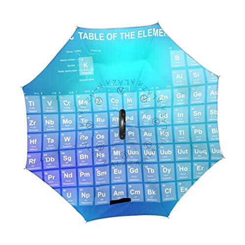 Regenschirm Moderne chemische Elemente Knowledge Reverse Inverted Reversible Sun Rain für den Außenbereich mit C-förmigem Griff