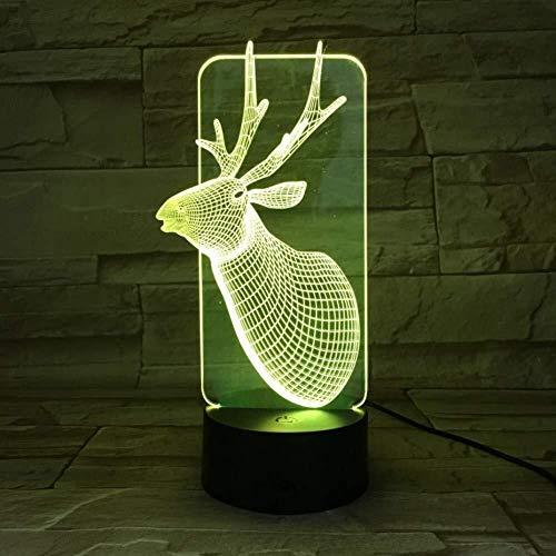 3D Illusion de Noël cerfs communs lampe de nuit 7 couleurs Enfants Enfant fille Animaux cadeaux bureau LED Veilleuse nuit Décoration lumière de nuit
