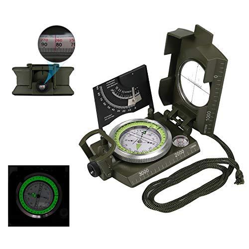 COLFULINE Professioneller Kompass Outdoor, Militär Marschkompass Taschenkompass Peilkompass Robust Compass mit Klinometer, 360°Skala, Leuchtziffern, Wasserdicht IP65 für Camping, Wandern