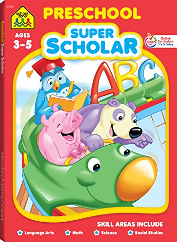 School Zone - Preschool Super Scholar Workbook - 128 Pages, Ages 3 to 5, Preschool to Kindergarten, Alphabet, Numbers 1-12, Colors, Shapes, Math, Science, and More