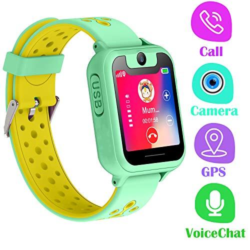 PTHTECHUS Telefono Reloj Inteligente GPS Niños - Smartwatch con Localizador GPS LBS Podómetro Juegos Despertador Camara Linterna per Niño y Niña de 3-12 Años (GPS, Verde)