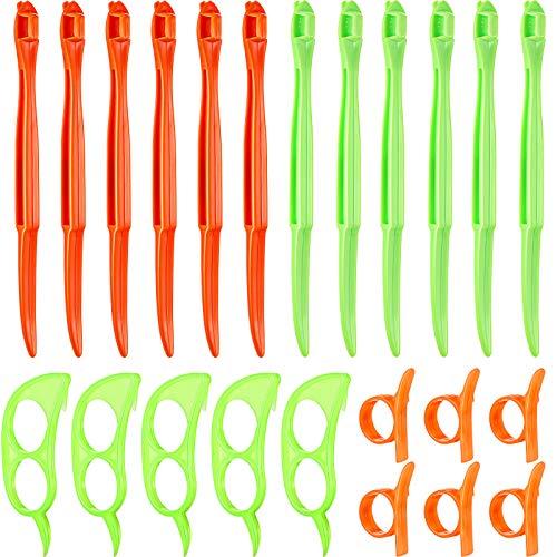 24 Pieces Orange Citrus Peeler Tool, Safe Plastic Easy Fruit Slicer Cutter...