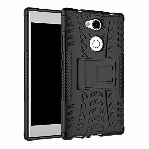 TenYll Sony Xperia L2 Hülle, 2in1 Silikon Rückseite Schutzhülle,Heavy Duty Tough Rugged Shock Proof Hülle,Mit Halterung Doppeltem Schutz Cover für Sony Xperia L2 -Schwarz