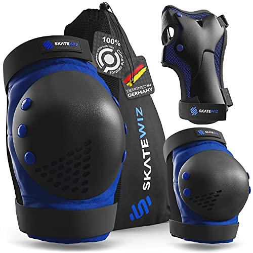SKATEWIZ Inliner Schutzausrüstung Kinder - SMASH - Größe M/L in Blau Schwarz - Knieschoner Scooter Hoverboard Schutz - Skateboard Protektoren