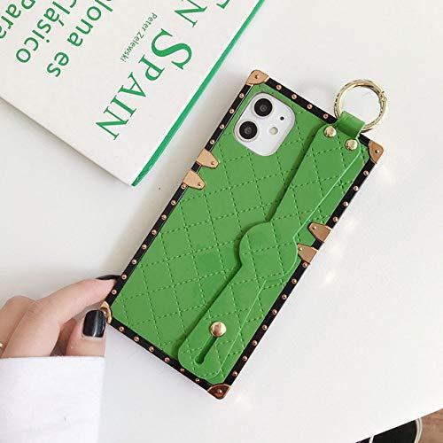Estuche de lujo para teléfono con pulsera de charol y diamantes de imitación para iPhone 7 8 6s Pluspara iPhone X Xs 11 Pro Max XR Accesorios de bola de piel, verde claro, para iPhone 6 (S) Plus