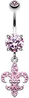 Royal Fleur De Lis Multi-Sprinkle Dot Dangle Belly Button Ring
