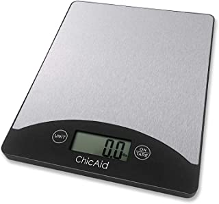 Digital Kitchen Food Scale, ChicAid Multifunction Weighing Scale for Baking Cooking Dieting, 11lb 5kg, LCD Display, Lightweight and Portable, Stainless Steel Top, Easy to Clean