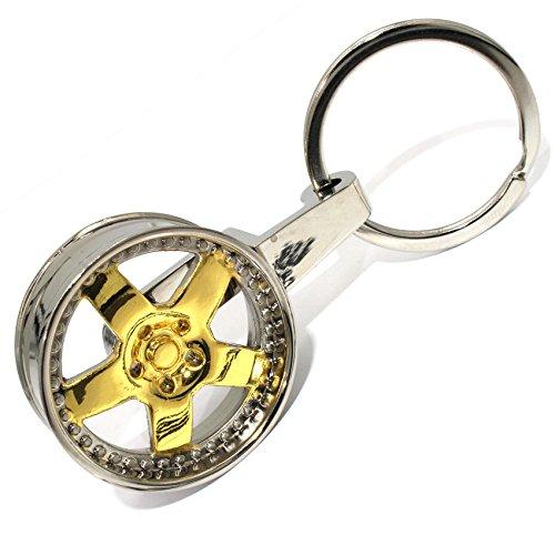 VmG-Store Felge Schlüsselanhänger BB Chrom/Gold Metall sehr edel und hochwertig wie BBS MB